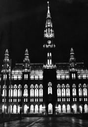 Vienna city hall at night, 1938