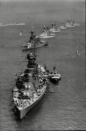 Aerial View Of Navy Ships Hms Hood Training Ship Iron Duke Hms Resolution Hms Revenge And Hms Ramillies All Preparing For Royal Jubilee Naval Review 1935.