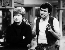 ONE DAY AT A TIME, from left: Bonnie Franklin, Pat Harrington in 'So Long, Mom' (Season 5, Episode 1