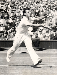 1935 Wimbledon Tennis Championship - Fred Perry Pictured In Action In Semi-finals.