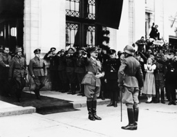 Adolf Hitler and Josef Burckel in front of the station of Graz, 1938