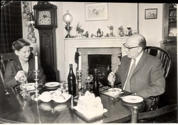 Actor Arthur Lowe And His Wife Joan Pictured Eating At Home.