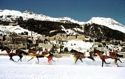 HORSES RACE IN A SKI-JOERING COMPETITION IN ST.MORITZ