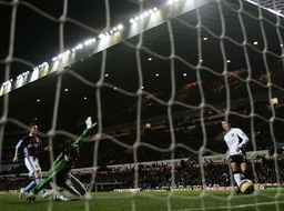 Manchester United's Ronaldo scores second goal past Aston Villa's Kiraly during their English Premier League match in Birmingham