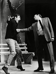 Theatrical Plays 'the Zoo Story' Steven Berkoff Is Stabbed By Ewan Hooper In One Of The Scenes.