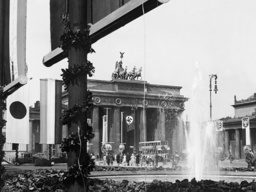 Brandenburg Gate short before the opening of the Olympic Summer Games, 1936
