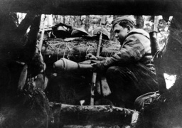 German soldier in a shelter on the Oder, 1945