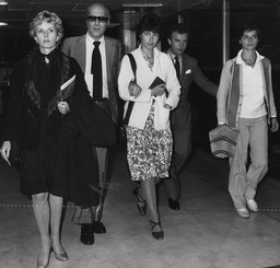 Children Of Actress Ingrid Bergman Arriving At Heathrow To Attend Their Mother's Funeral. L-r: Pia Lindstrom Ingrid's Ex Husband Film Producer Franco Rossellini Isabella Rossellini Joseph Daly (husband Of Pia) And Isotta Rossellini. Box 771 9100717
