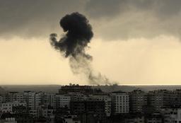 Smoke rises after an Israel air strike in Gaza