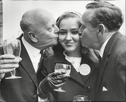 Miss Ecuador Marcia Ramos Celebrates Her 21st Birthday Today. She Receives A Kiss From Mp's Sir Stephen Mcadden (left) And Fred Harris.