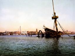 The Spanish American War. Wreck of the U.S.S. Maine in Havana Harbor, Cuba. William Henry Jackson, p