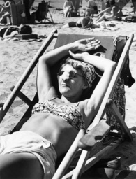 Woman sunbathing, 1939