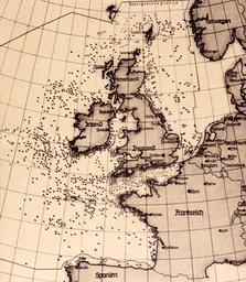 Dt. U-Bootkrieg gegen England/ Karte. - Germ.Submarine War against Engl./ Map - Sous-marins all. contre l'Angl. / Carte