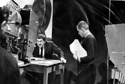 Television Programme '' That Was The Week That Was'' David Frost (l) In A Sketch Watched Over By Ned Sherrin.