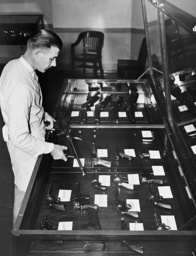Confiscated weapons at the FBI headquarters in Washington, 1935