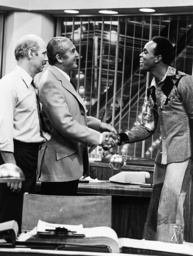 BIG EDDIE, from left: Alan Oppenheimer, Sheldon Leonard, Ralph Wilcox, 1975.