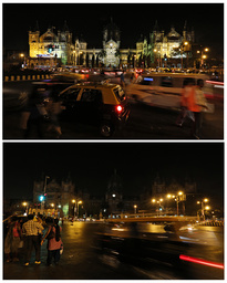 Combination picture of the Chhatrapati Shivaji terminus railway station before and during Earth Hour in Mumbai