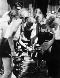 German Jungmaedel (Young Girls) at the serving the meals, 1938