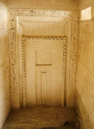Hieroglyphic inscriptions are seen on the entrance of a recently discovered tomb in Saqqara