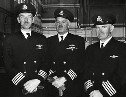 The Boac Pilots Who Fly The Queen On The Royal Flight. L-r Capt Thomas Nisbet Capt James Tate Percy And Capt Allan Andrew