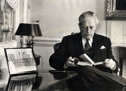 Harold Macmillan The 1st Earl Of Stockton (died 29/12/1986) Reading A Book In His Office.