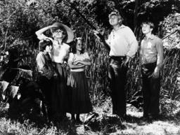 SWISS FAMILY ROBINSON, from left: Eric Olson, Pat Delaney, Helen Hunt, Martin Milner, Willie Aames i