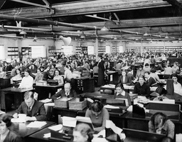 Clerks At Work In Offices Of Vernon Pools Aintree.