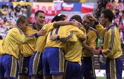 SWEDISH TEAM CELEBRATE GOAL AGAINST POLAND