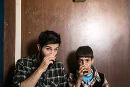 SALAM NEIGHBOR, from left: director Zach Ingrasci, Raouf, 2015.