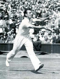 Fred Perry Winning The Other Semi-final At Wimbledon. He Defeated Don Budge.