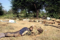 A body, identified as that of an Ethiopian soldier by the Islamist courts, is seen on a battleground in Idale