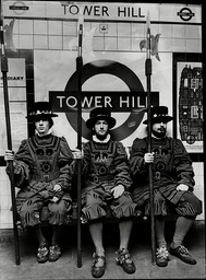 Student Beefeaters On The Underground At Tower Hill Station. The University Students Were In Training For A Production Of Opera 'yeoman Of The Guard'. L-r: Dick Haswell Jim Monarch Chris Gorniak