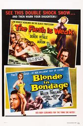 THE FLESH IS WEAK, and BLONDE IN BONDAGE, (aka BLONDIN I FARA), poster art for explioitation double