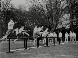 Stowe School In Buckinghamshire 1930's. Pupils Jumping Over Hurdles Sports Day At The Public School.
