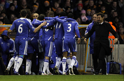 Chelsea manager Andre Villas-Boas celebrates with the team after Ramires scored during their English Premier League soccer match at Molineux against Wolverhampton Wanderers in Wolverhampton