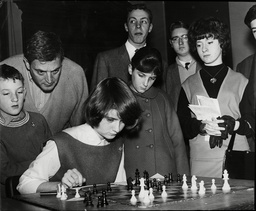 Paul Keres Russian Grand Master Of Chess Plays 24 Chess Players At The Same Time Seen Making Move Against 16 Year Old Dinah Gibson At St Pancras Town Hall
