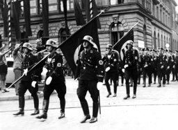 SS-formation with 'blood flag' in Weimar