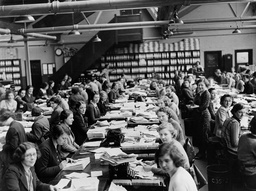 Employees At Work In The Office Headquarters Of Vernon Pools Aintree.