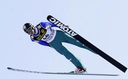 Loitzl from Austria soars through air during practice for second event of four-hills ski jumping tournament in Garmisch-Partenkirchen