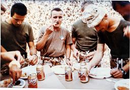 Gulf War Kuwait Invasion By Iraq Mobilisation British Forces Army. Staffordshire Regiment Are Pictured Having Their Christmas Dinner.