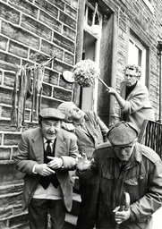 Tv Programme: Last Of The Summer Wine. Nora Batty (kathy Staff) Waving Her Mop At Compo (bill Owen) Centre Clegg (peter Sallis) Left And Foggy (brian Wilde) Right. Box 650 404121544 A.jpg.