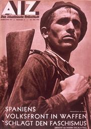 Span.Bürgerkrieg / AIZ 29.7.1936 - AIZ anti-fascist cover / 29/7/1936 - AIZ, titre anti-fasciste / 29/7/1936