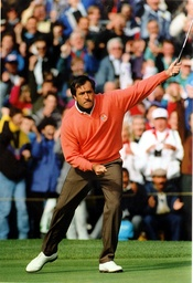 A Clenched Fist Salute From Seve Ballesteros As He Holes A Putt To Help Clinch Another Point. Seve Ballesteros Was Left Out Of Europe's Ryder Cup Line Up Yesterday Afternoon In A Controversial Move By Captain Bernard Gallacher.