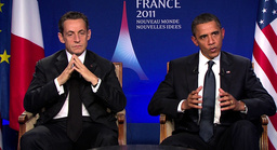 U.S. President Obama and France's President Sarkozy being interviewed on French TV following the G20 summit in Cannes