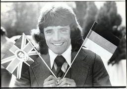 Footballer Kevin Keegan Holding The Union Jack And A German Flags