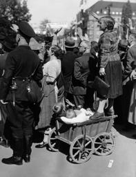 Mass enthusiasm during the Nuremberg Rally in Nuremberg, 1936
