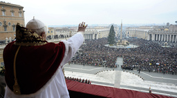 Pope Benedict XVI leads his Urbi et Orbi (to the city and the world) Christmas Day message at the Vatican