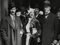 Wedding Of Miss Barbara Hastings The 26-year-old Daughter Of Sir Patrick Hastings (right) A K.c. And Mr Nicolas Bentley (left) The Artist After Their Wedding At Chelsea Register Office. (note: Nicolas Was A Nicholas But Changed The Spelling Of His Na