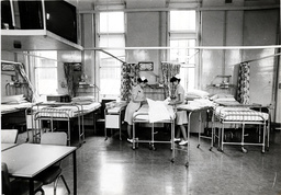West London Hospital Nurses Making Beds In The Maternity Ward