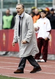 Cagliari's coach Colomba reacts during a Serie A soccer match against AS Roma in Rome